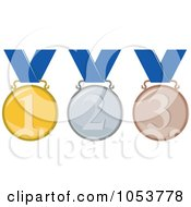 Royalty Free Vector Clip Art Illustration Of A Digital Collage Of Gold Silver And Bronze Medals With Numbers