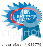 Royalty Free Vector Clip Art Illustration Of A Blue Satisfaction Guarantee Ribbon by patrimonio