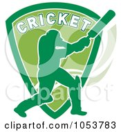 Royalty Free Vector Clip Art Illustration Of A Cricket Batsman With A Shield