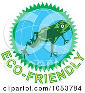Royalty Free Vector Clip Art Illustration Of A Frog Over A Globe Above Eco Friendly Text 2 by patrimonio