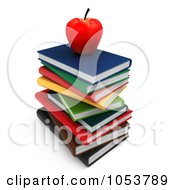 Royalty Free 3d Clip Art Illustration Of A 3d Apple On A Stack Of Books