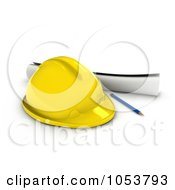 3d Hard Hat Pencil And Blue Prints