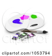 Royalty Free 3d Clip Art Illustration Of A 3d Paint Palette