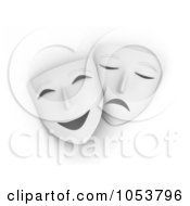 Royalty Free 3d Clip Art Illustration Of 3d Drama Masks