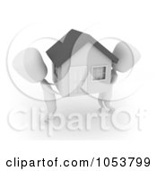 Royalty Free 3d Clip Art Illustration Of 3d Ivory White Men Moving A House