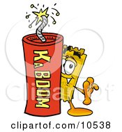 Yellow Admission Ticket Mascot Cartoon Character Standing With A Lit Stick Of Dynamite
