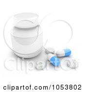 Royalty Free 3d Clip Art Illustration Of A 3d Pill Bottle And Pills