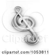 Royalty Free 3d Clip Art Illustration Of A 3d Silver Clef