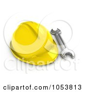 Royalty Free 3d Clip Art Illustration Of A 3d Wrench By A Hard Hat by BNP Design Studio