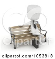 Royalty Free 3d Clip Art Illustration Of A 3d Ivory White Businessman Waiting On A Bench by BNP Design Studio