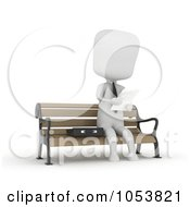 Royalty Free 3d Clip Art Illustration Of A 3d Ivory White Businessman Reading On A Bench by BNP Design Studio