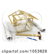 Royalty Free 3d Clip Art Illustration Of A 3d House Being Constructed On Blueprints