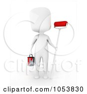 Royalty Free 3d Clip Art Illustration Of A 3d Ivory White Man Holding A Paint Roller And Can by BNP Design Studio