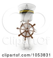 Royalty Free 3d Clip Art Illustration Of A 3d Ivory White Man Captain With A Helm