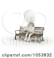 Royalty Free 3d Clip Art Illustration Of A 3d Ivory White Man Reading The News On The Bench by BNP Design Studio