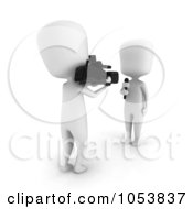 Royalty Free 3d Clip Art Illustration Of A 3d Ivory White Man Reporter And Camera Man
