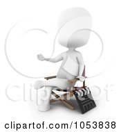 Royalty Free 3d Clip Art Illustration Of A 3d Ivory White Man Movie Director by BNP Design Studio
