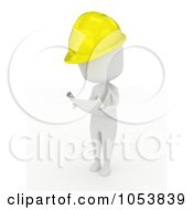 Royalty Free 3d Clip Art Illustration Of A 3d Ivory White Man Construction Worker Reading Blueprints by BNP Design Studio