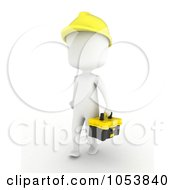 Royalty Free 3d Clip Art Illustration Of A 3d Ivory White Man Construction Worker Carrying A Tool Box by BNP Design Studio