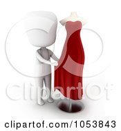 Royalty Free 3d Clip Art Illustration Of A 3d Ivory White Man Designing A Dress