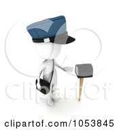 3d Ivory White Man Mailman By A Mailbox
