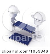 Royalty Free 3d Clip Art Illustration Of 3d Ivory White Men Installing Solar Panels by BNP Design Studio