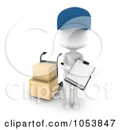Royalty Free 3d Clip Art Illustration Of A 3d Ivory White Man Delivering Boxes