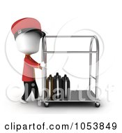 Royalty Free 3d Clip Art Illustration Of A 3d Ivory White Man Bellboy Pushing A Luggage Cart by BNP Design Studio