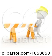 Royalty Free 3d Clip Art Illustration Of A 3d Ivory White Man Construction Worker Moving A Blocade by BNP Design Studio