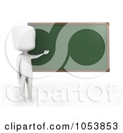 Royalty Free 3d Clip Art Illustration Of A 3d Ivory White Man Teacher By A Chalk Board by BNP Design Studio