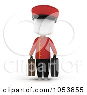 Royalty Free 3d Clip Art Illustration Of A 3d Ivory White Man Bellboy Carrying Luggage by BNP Design Studio