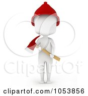 Royalty Free 3d Clip Art Illustration Of A 3d Ivory White Man Firefighter With An Axe
