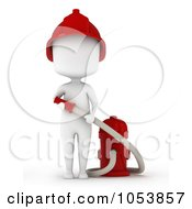 Royalty Free 3d Clip Art Illustration Of A 3d Ivory White Man Firefighter With A Hose