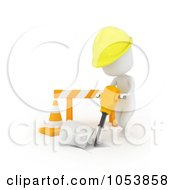 Royalty Free 3d Clip Art Illustration Of A 3d Ivory White Man Construction Worker Using A Jackhammer by BNP Design Studio