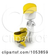Royalty Free 3d Clip Art Illustration Of A 3d Ivory White Man Janitor Mopping by BNP Design Studio