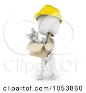Royalty Free 3d Clip Art Illustration Of A 3d Ivory White Man Architect Carrying A Box Of Blueprints
