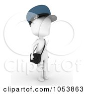 Royalty Free 3d Clip Art Illustration Of A 3d Ivory White Man Mailman by BNP Design Studio