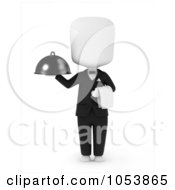 Royalty Free 3d Clip Art Illustration Of A 3d Ivory White Man Waiter Holding A Platter by BNP Design Studio