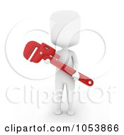Royalty Free 3d Clip Art Illustration Of A 3d Ivory White Man Plumber Holding A Monkey Wrench