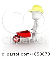 Royalty Free 3d Clip Art Illustration Of A 3d Ivory White Man Construction Worker Pushing A Wheel Barrow by BNP Design Studio