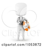 Royalty Free 3d Clip Art Illustration Of A 3d Ivory White Man Life Guard by BNP Design Studio