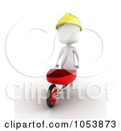 Royalty Free 3d Clip Art Illustration Of A 3d Ivory White Man Construction Worker Pushing A Wheelbarrow by BNP Design Studio