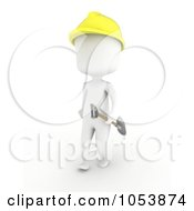 Royalty Free 3d Clip Art Illustration Of A 3d Ivory White Man Construction Worker Carrying A Shovel by BNP Design Studio