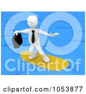 3d White Businessman Surfing On Blue Waters