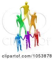 3d Colorful Men Forming A Pyramid