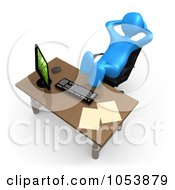 Lazy 3d Blue Man Sitting With His Feet Up On His Office Desk