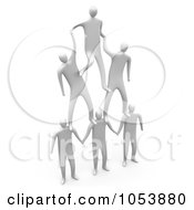 Royalty Free 3d Clip Art Illustration Of A Team Of 3d White Men Forming A Pyramid