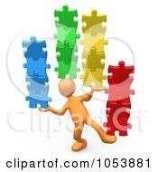 Poster, Art Print Of 3d Orange Person Balancing Puzzle Pieces