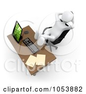 Royalty Free 3d Clip Art Illustration Of A Lazy 3d White Man Sitting With His Feet Up On His Office Desk