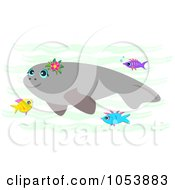 Royalty Free Vector Clip Art Illustration Of A Swimming Manatee And Fish by bpearth
